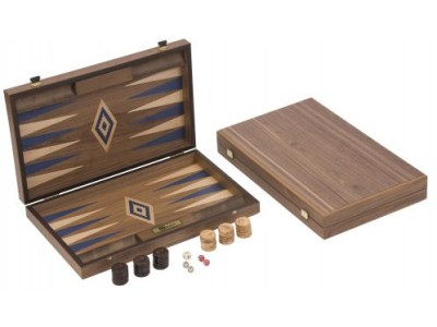Walnut Wood Backgammon - Blue
